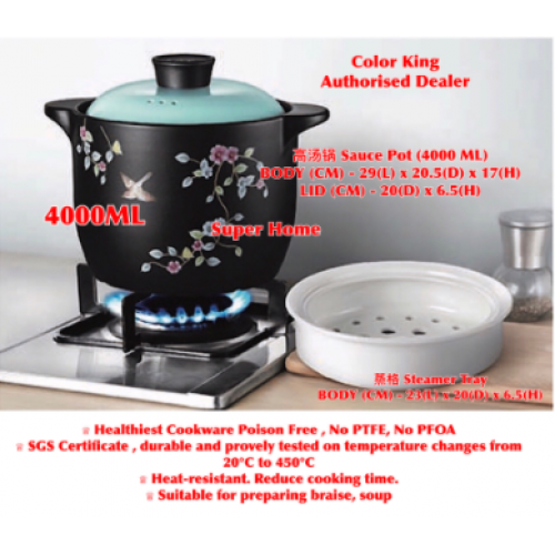 COLOUR KING SAUCE Pot WITH STEAMER 4000ML SSCST-300BL