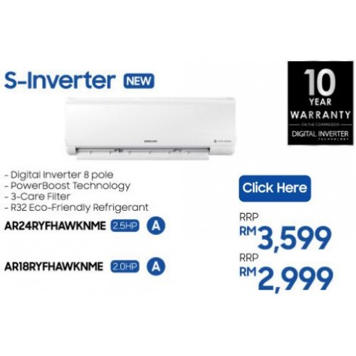 Samsung R32 S-Inverter Wall- Mount Air Conditioner with 8-Pole Inverter , 2.5HP